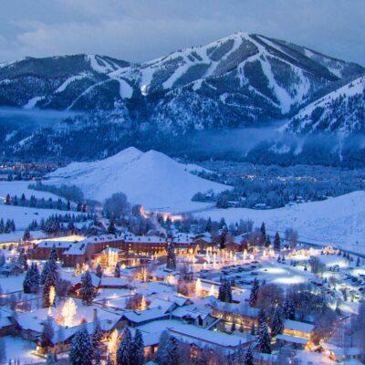 aeriel view of Sun Valley ski resort during winter