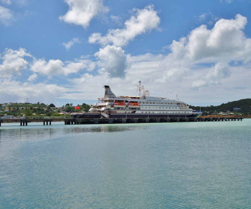 Seadream cruise ship in port of Antigua