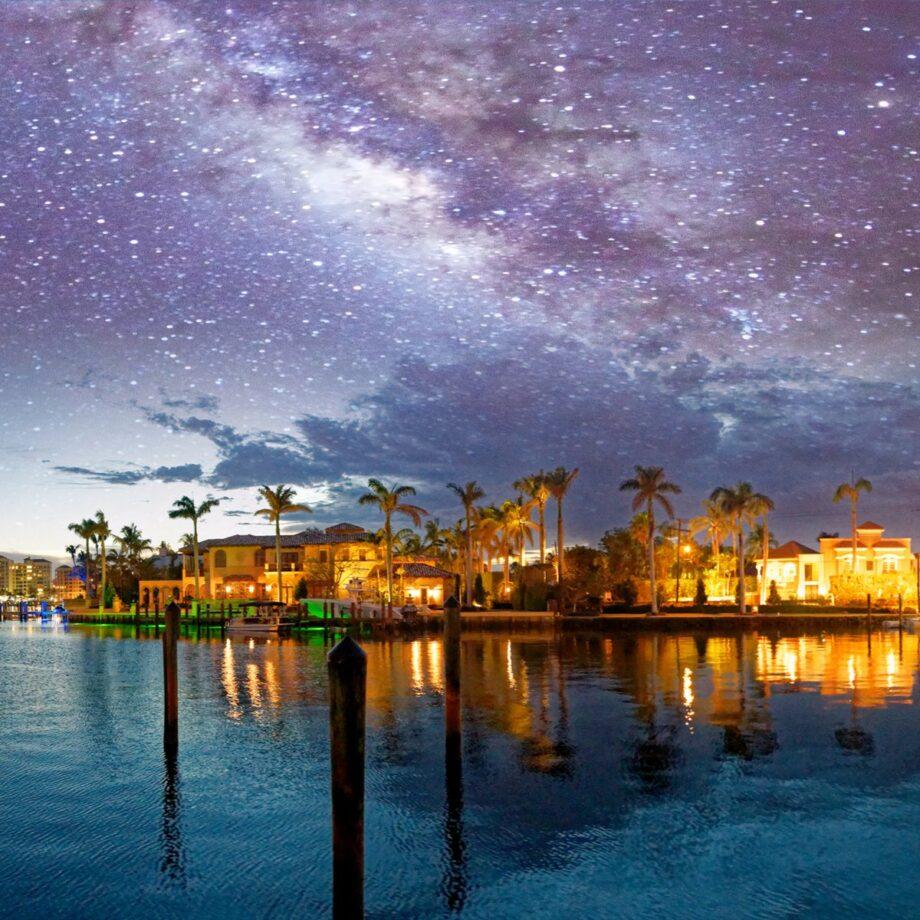 Boca Raton, Florida, under a starry sky.