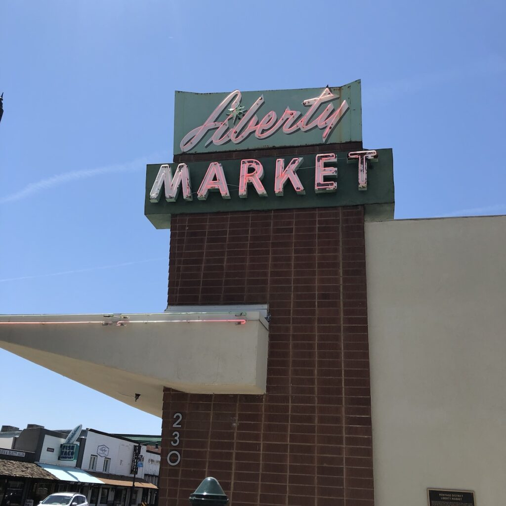 A sign for Liberty Market.