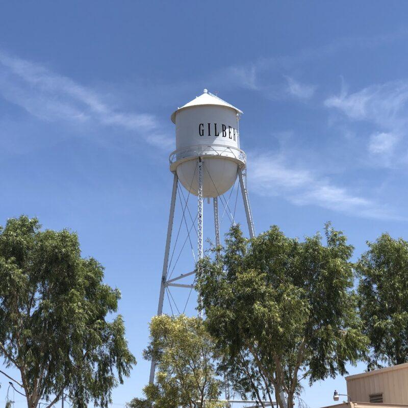 A water tower in Gilbert, AZ.