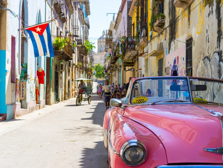 50s pink car on the street in Havana