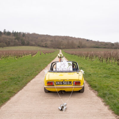 A Just Married car in Surrey.