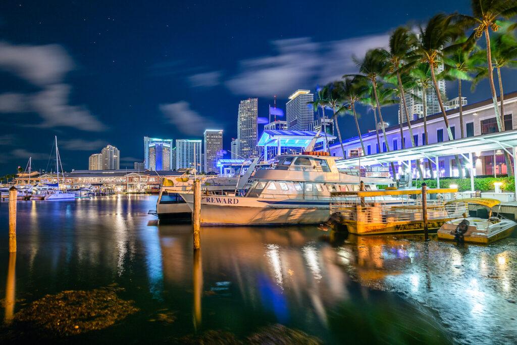 Colorful Miami, Florida, coast and skyline.