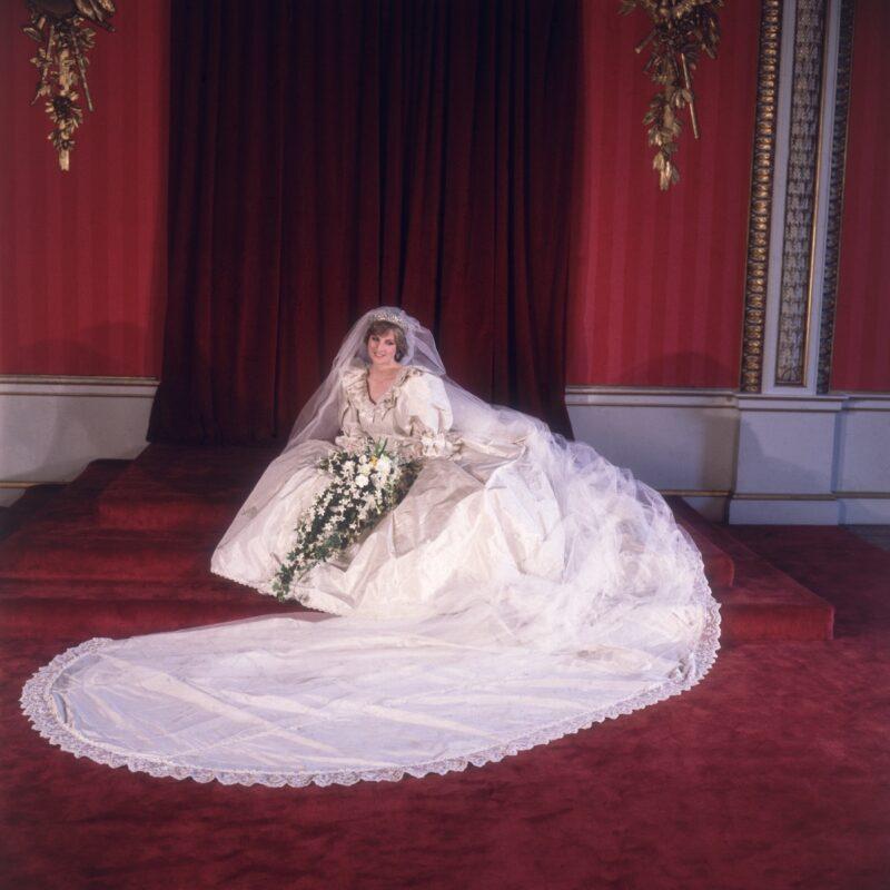 Princess Diana in her wedding dress.