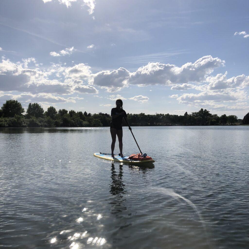 Author paddle boarding in Richland, Washington.