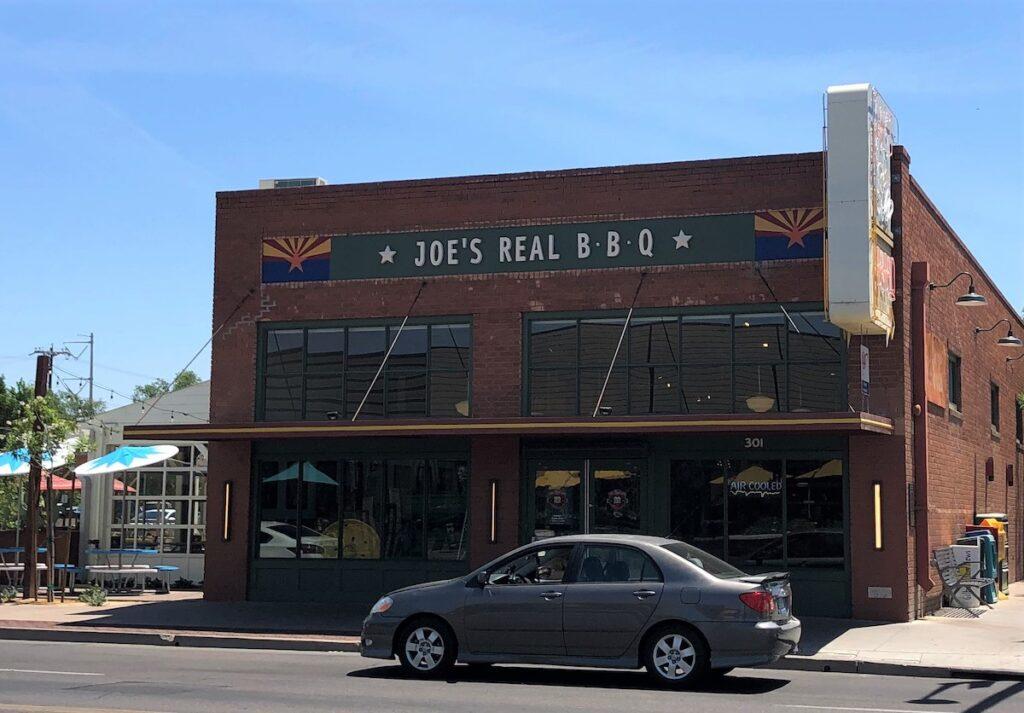 A street view of Joe's Real BBQ.