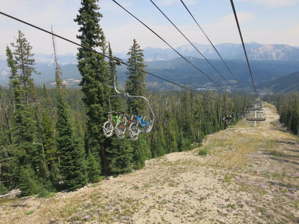 Mountain bikes on the sky lift, Big Sky.