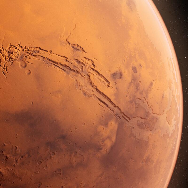 A 3D-rendering of Valles Marineris on Mars.