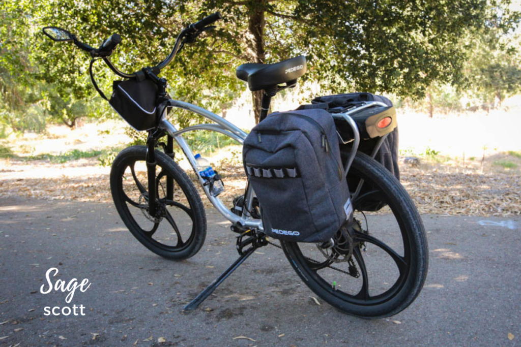 A bag attached to an electric bike.