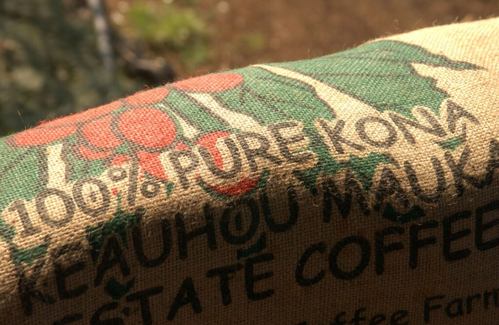 A bag of Kona coffee from Hawaii.
