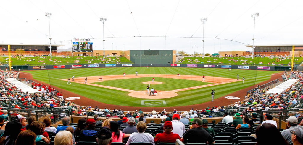 A ball game at Scottsdale Stadium in Arizona.