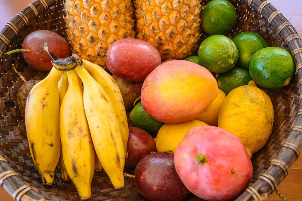 A basket of tropical fruits from Reunion Island.