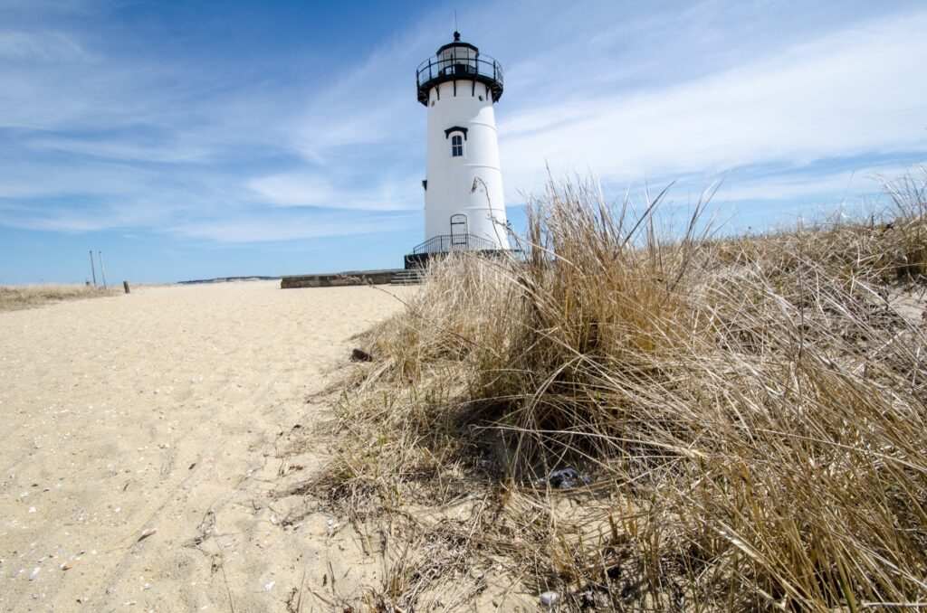 A beach and lighthouse at Martha's Vineyard.