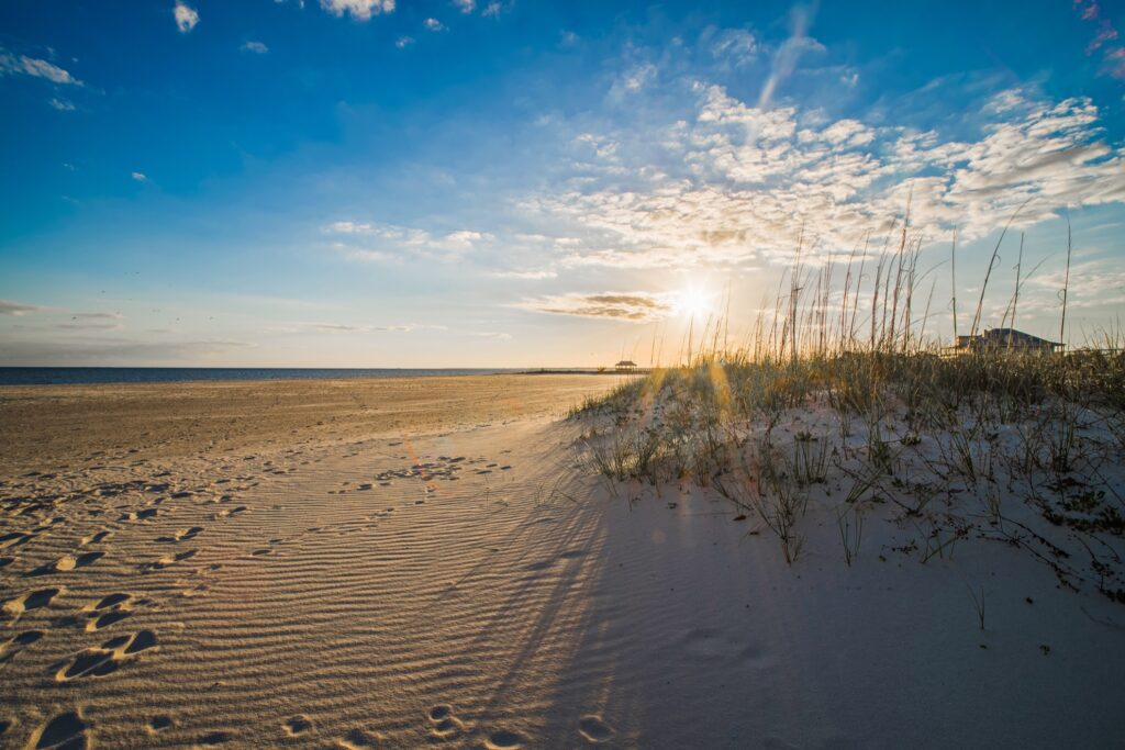 A beach in Gulfport, Mississippi.