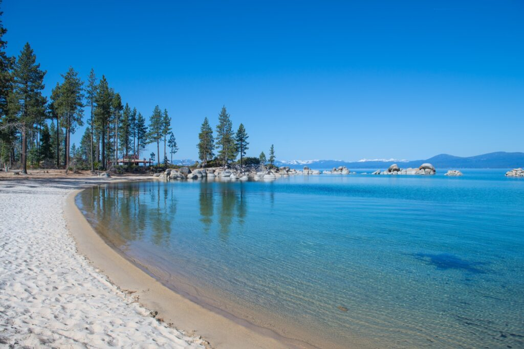 A beach on the shore of Lake Tahoe.