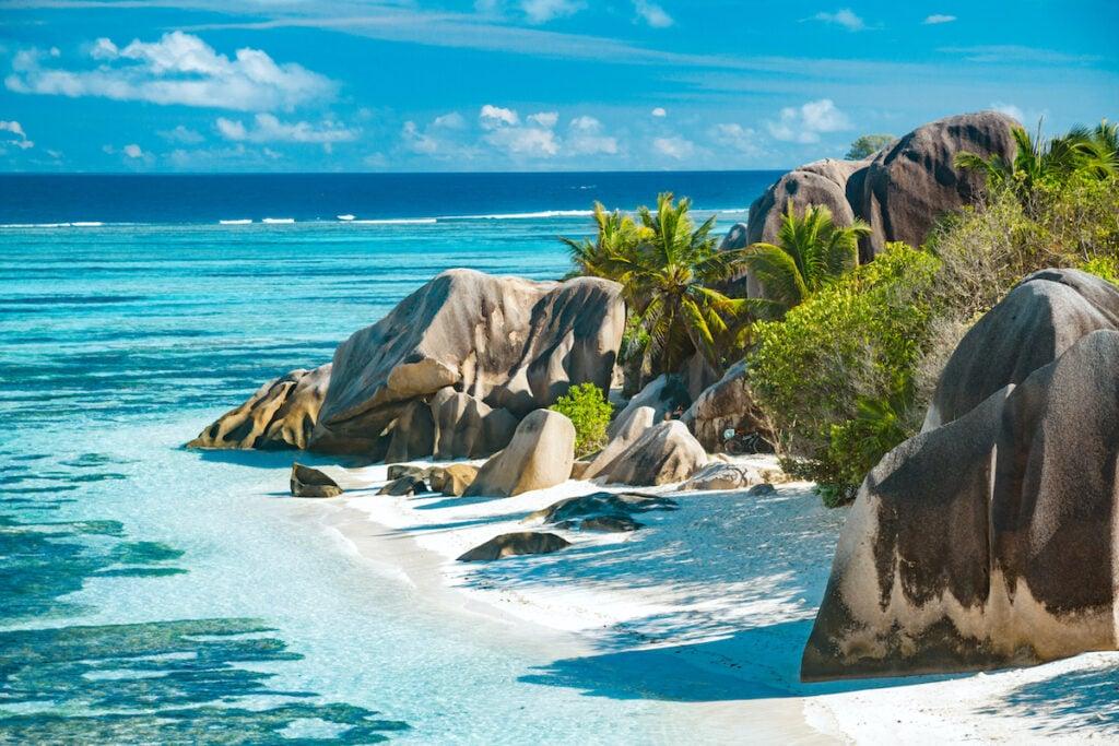 A beautiful beach in the Seychelles islands.