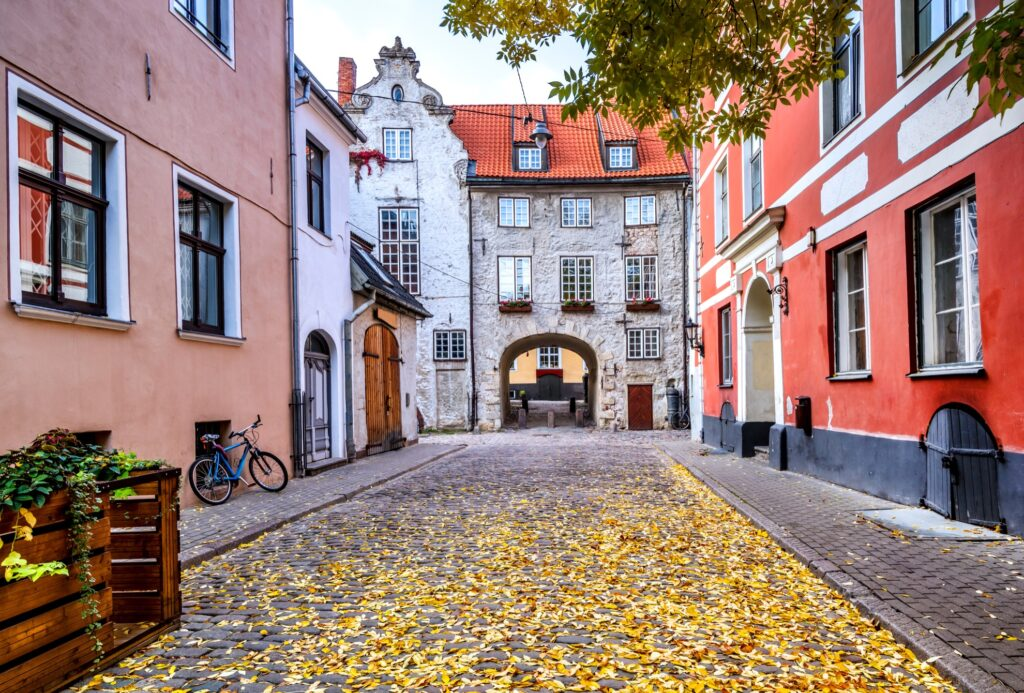 A beautiful cobblestone street in Riga.