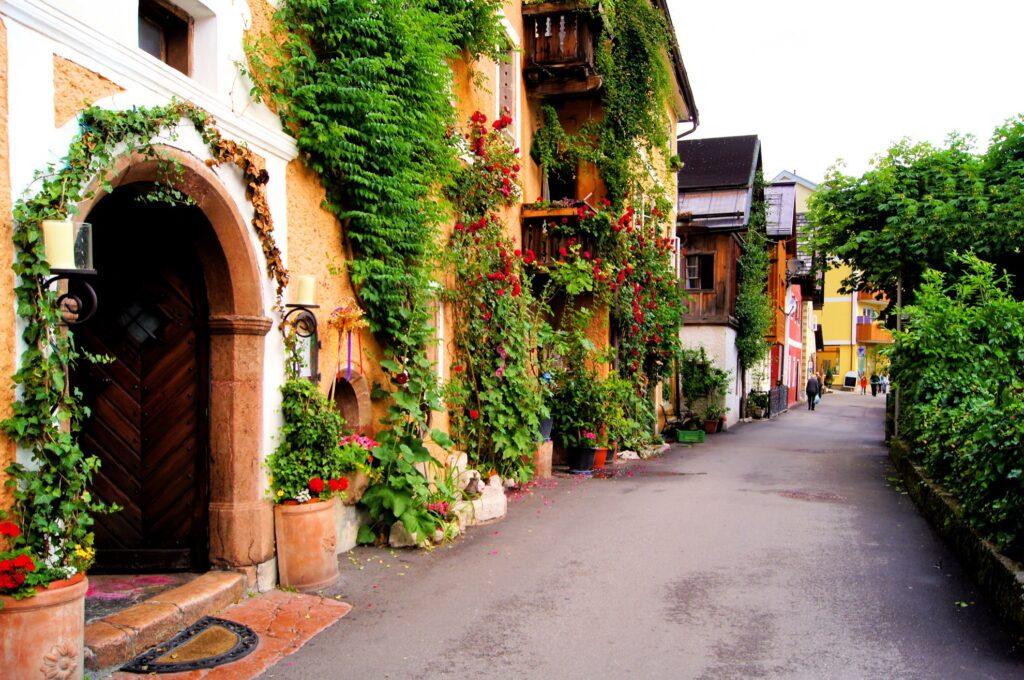 A beautiful street in Hallstatt, Austria.