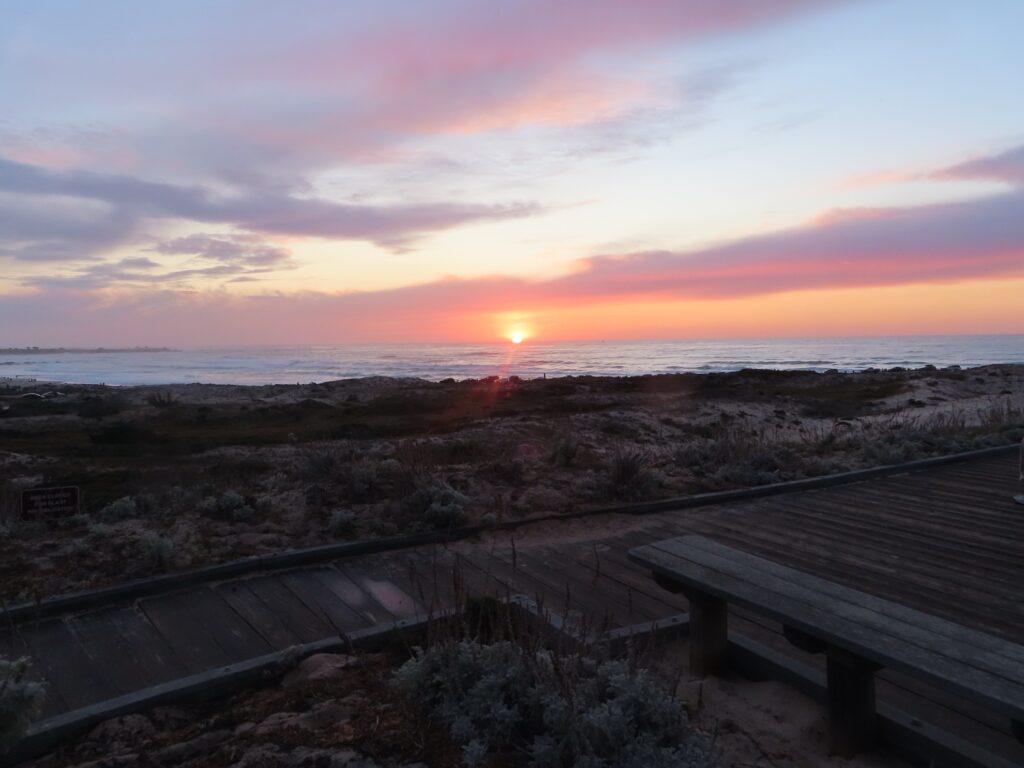 A beautiful sunset over a beach in California.