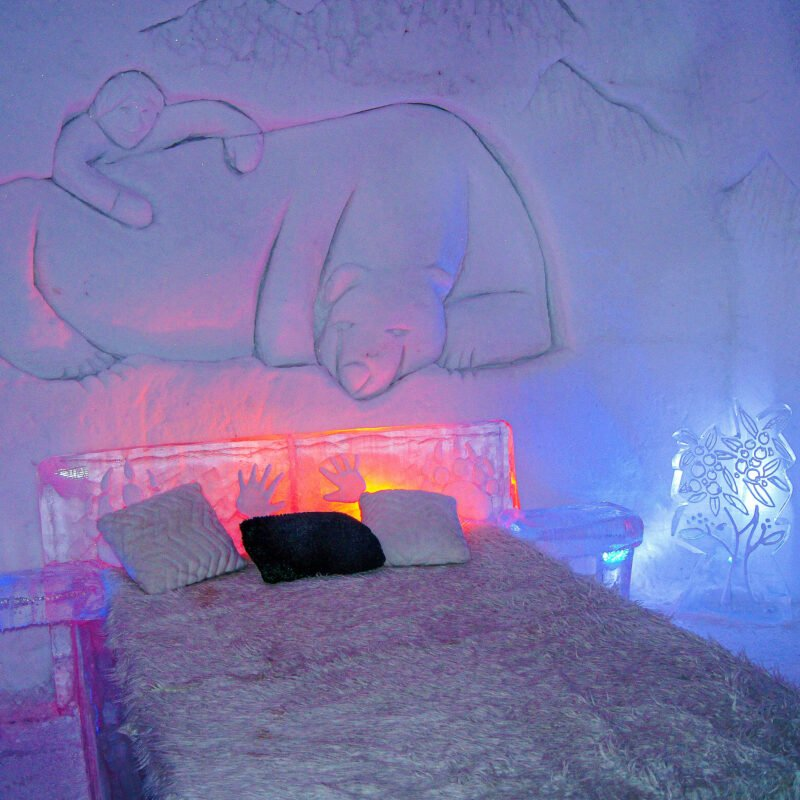 A bed at the Hotel de Glace, an ice hotel near Quebec City.