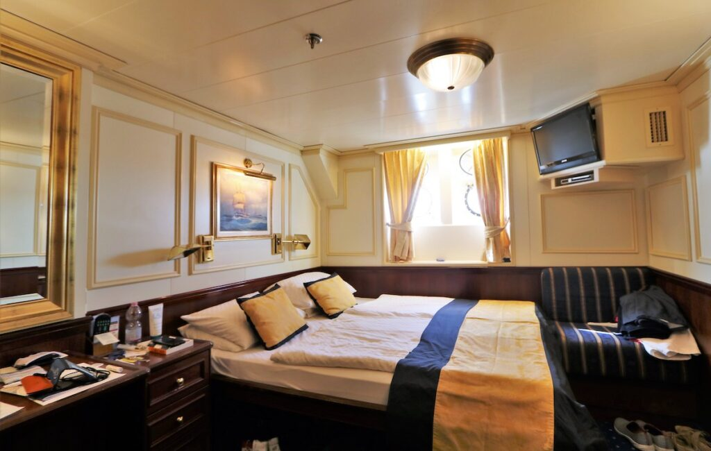 A bedroom on the Royal Clipper.