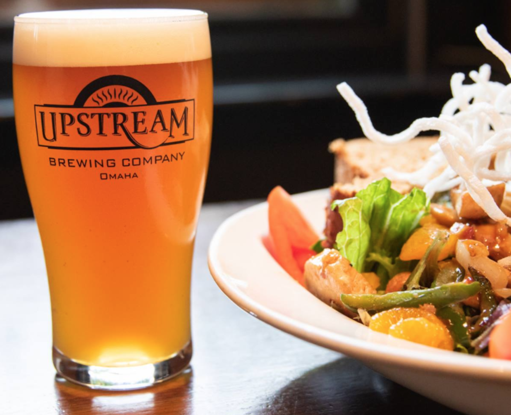 A beer and meal from Upstream Brewing Company.