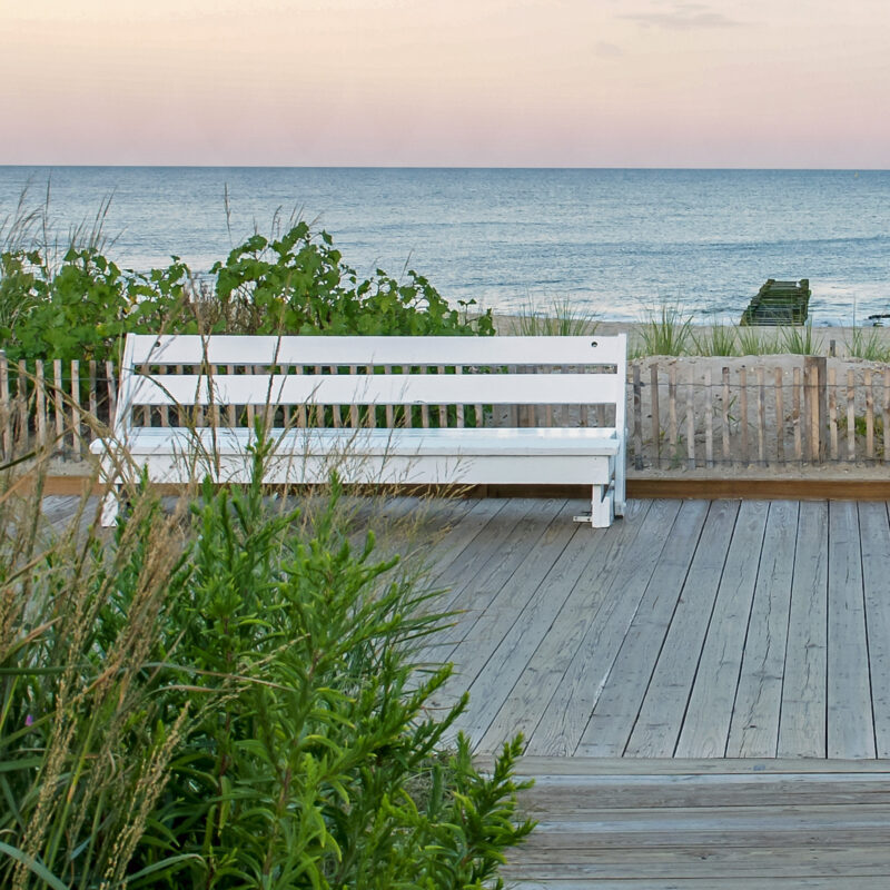 A bench at Rehoboth Beach in Delaware.