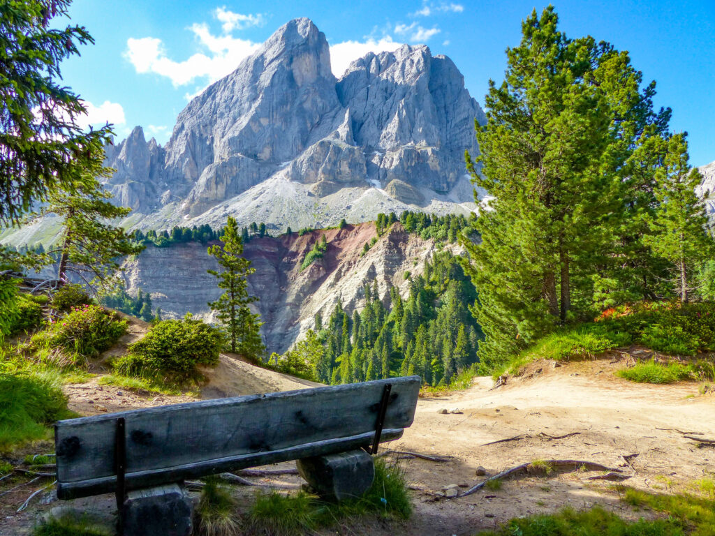 A bench near the Dolomites in South Tyrol, Italy.