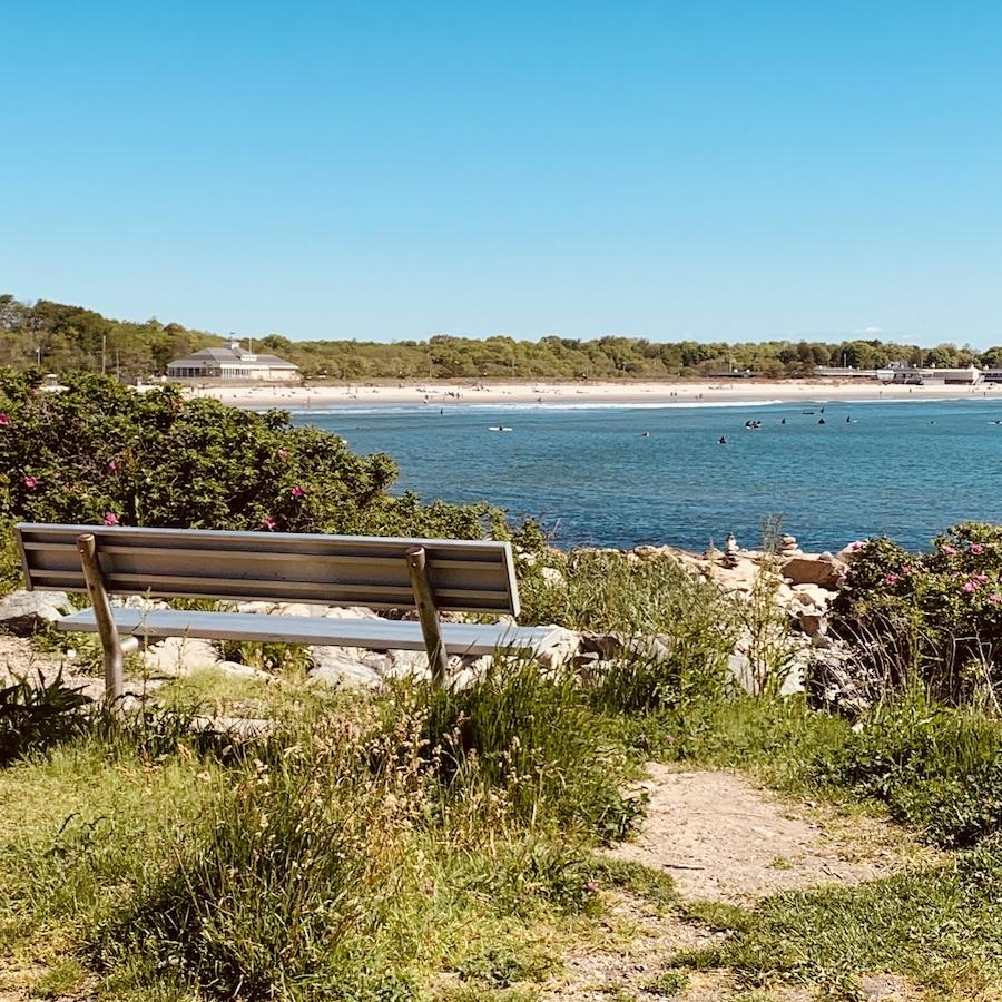 A bench overlooking Narragansett Town Beach.