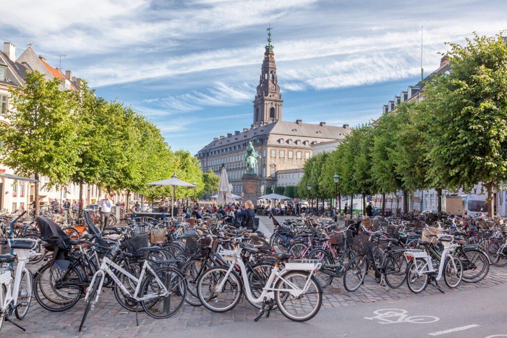 A bicycle parking area in Copenhagen.