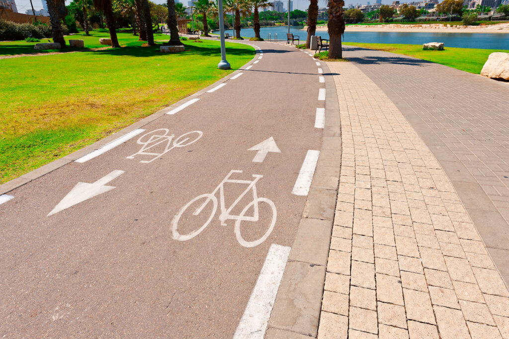 A bicycle path in Tel Aviv.