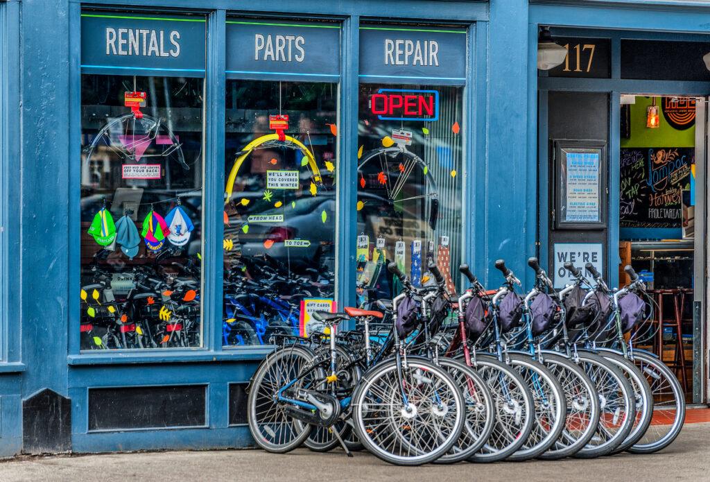 A bike shop in downtown Portland.