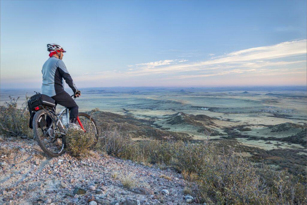 A biker on a trail near Fort Collins, Colorado.