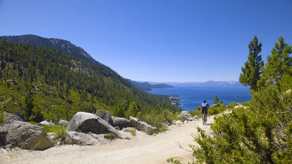 A biker on the North Lake Tahoe Ale Trail.
