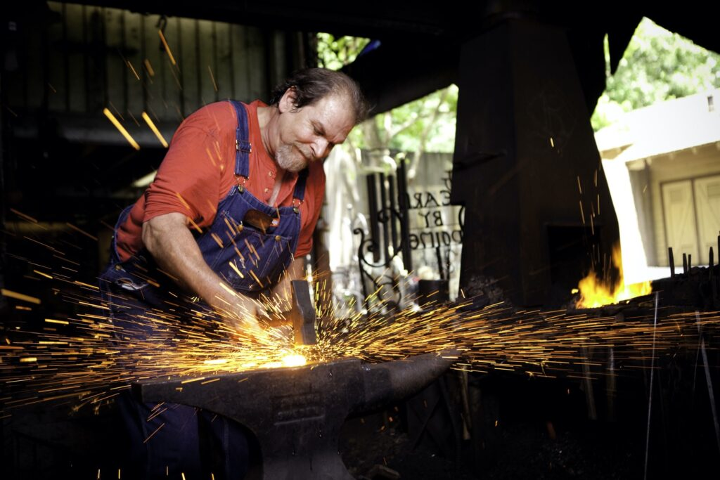 A blacksmith in Craftsman's Valley at Dollywood.