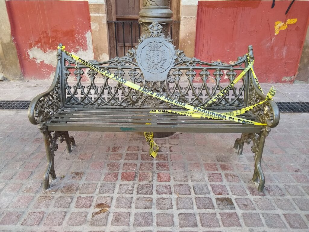 A blocked off bench in Mexico.