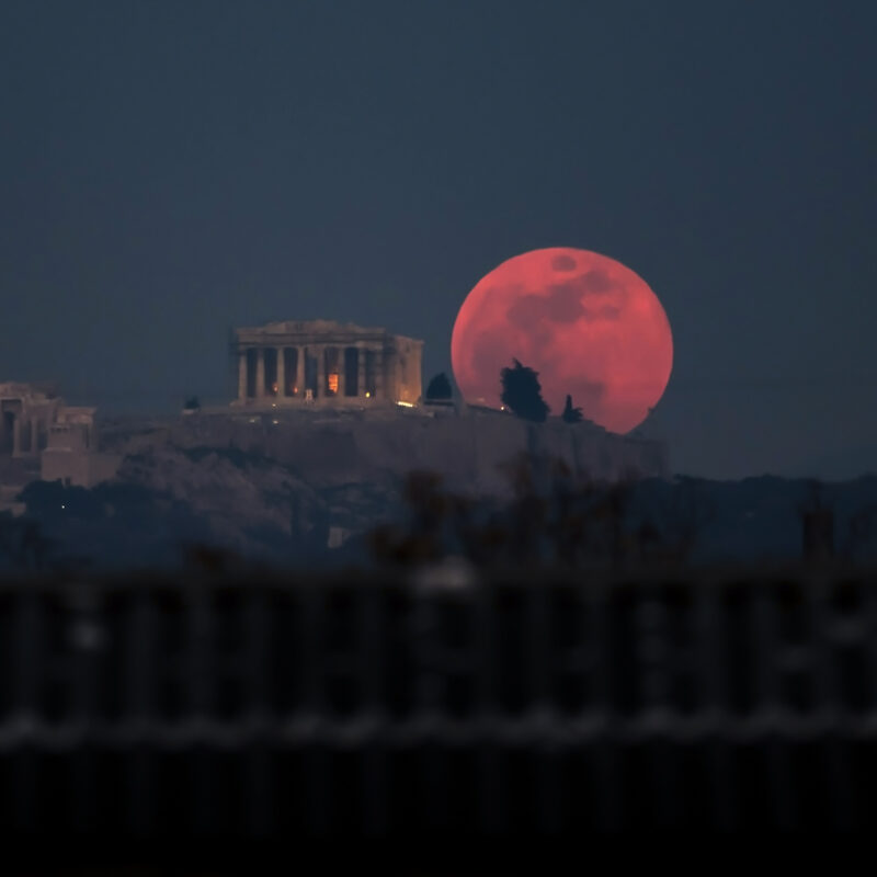 A Blood Moon rising over Athens, Greece.