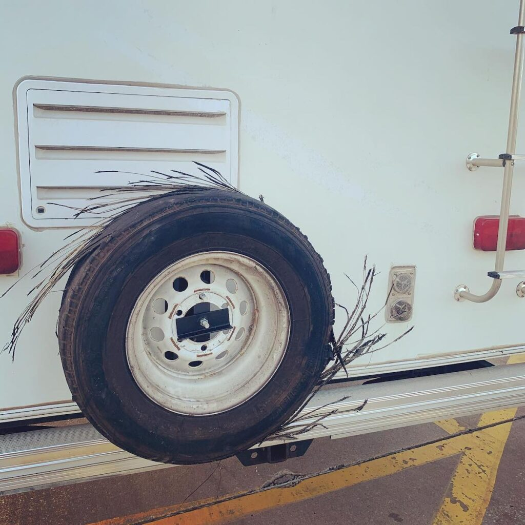 A blown-out tire on the writer's RV.
