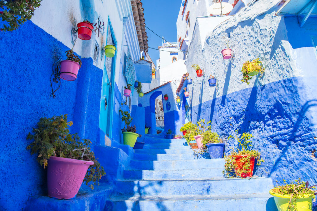 A blue staircase in Chefchaouen, Morocco.