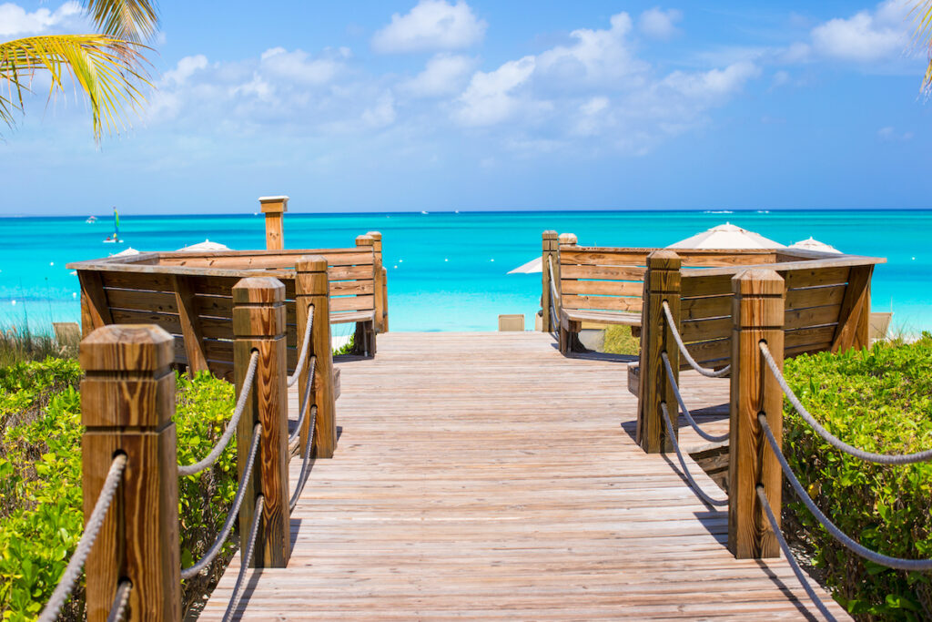 A boardwalk at a resort in the Turks and Caicos.