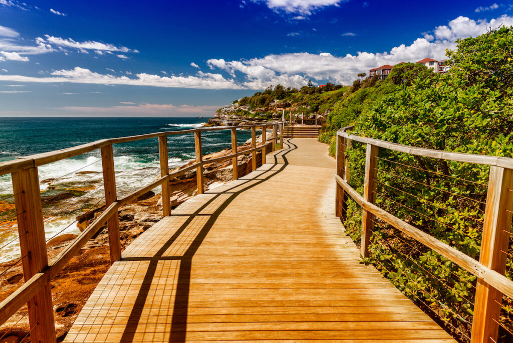 A boardwalk trail at Bondi Beach in Australia.