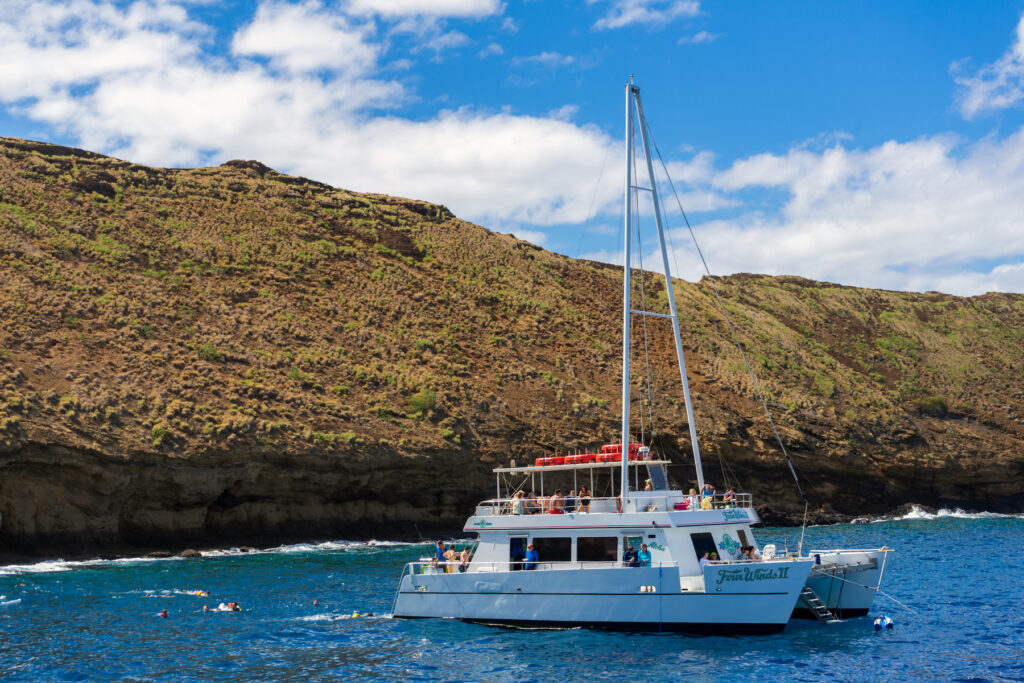 A boat at Molokini Crater in Hawaii.