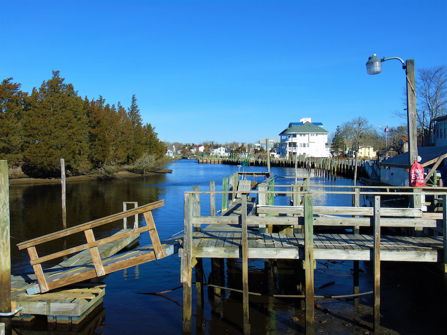 A boat dock in Tuckerton, New Jersey.