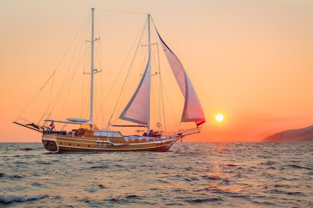 A boat off the coast of Croatia.