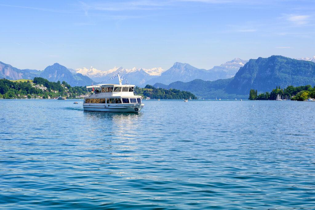 A boat on Lake Lucerne, Switzerland.