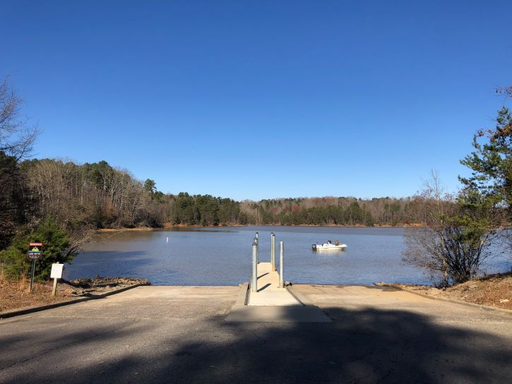 A boat ramp at Lake Norman State Park.