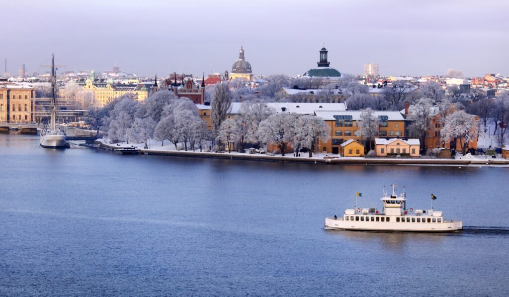 A boat tour of Stockholm during winter.
