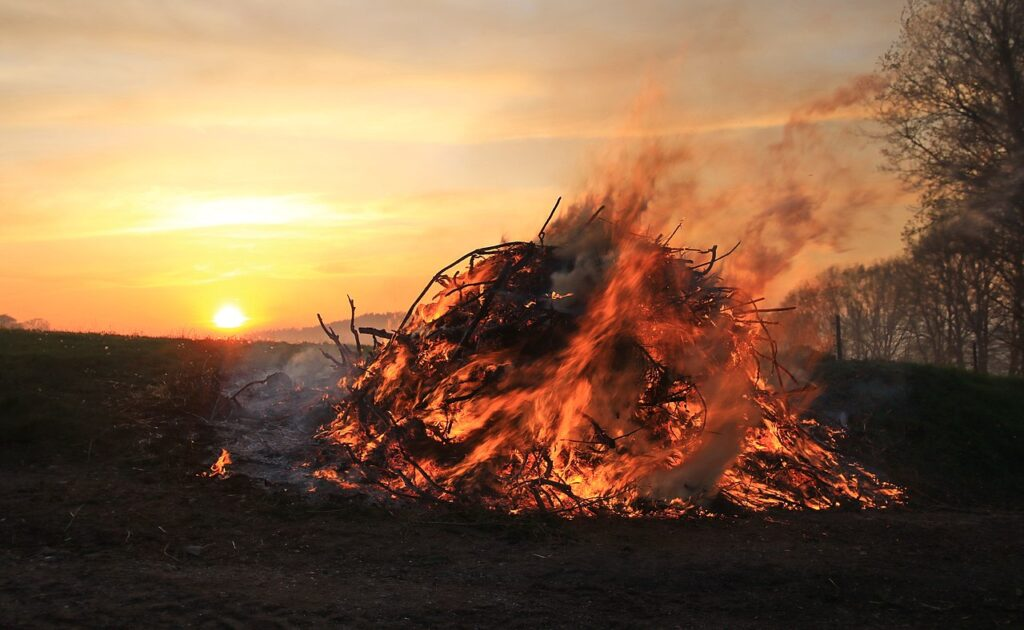 A bonfire during the celebration of Walpurgisnacht in Germany.