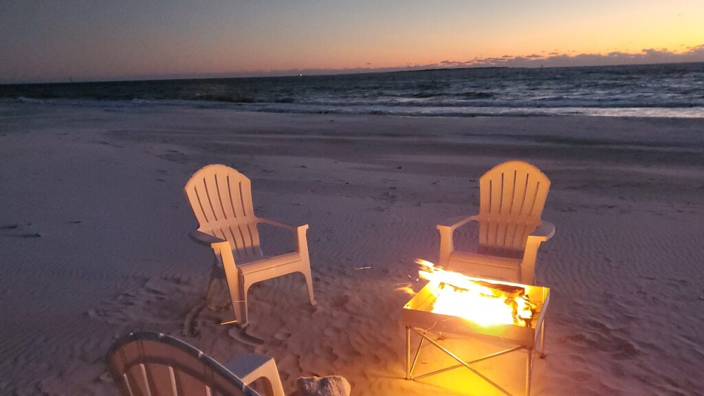 A bonfire on the beach in Port St. Joe, Florida.